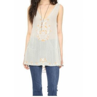 Free People NEW Gray Women's Size Large L Embroidered Tank Cami Top