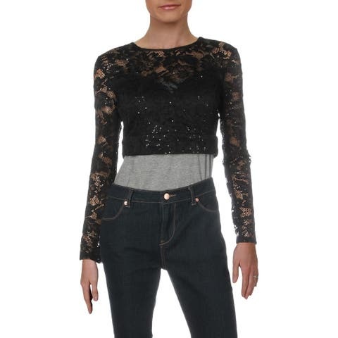 B. Darlin Womens Juniors Crop Top Lace Sequined - Black - 7/8