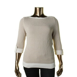 Karen Scott Womens Petites Tuck Stitch 3/4 Sleeve Pullover Sweater - pxl