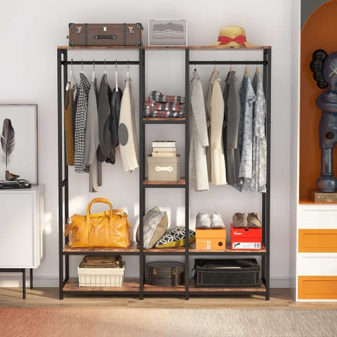 Closet Organizer System with Shelves, Double Rod Free standing Clothes Storage