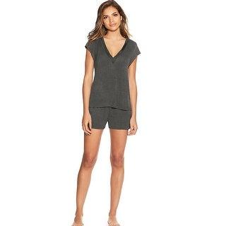 Maidenform V-Neck Shorts Set - Color - Charcoal - Size - XL