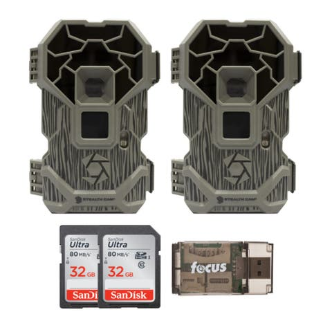 Stealth Cam PXP24NG No Glo IR 16MP Trail Camera (2-Pk) w/ Cards Bundle