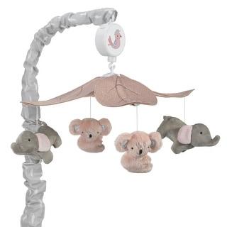 Lambs & Ivy Calypso Pink/Gray Koala & Elephant Musical Baby Crib Mobile