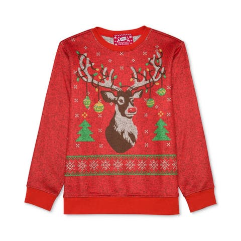 Hybrid Boys Holiday Pullover Knit Sweater, Red, L (14-16) - L (14-16)
