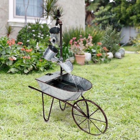 Alpine 36-Inch Rustic Wheelbarrow and Watering Can Fountain