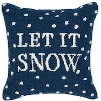 """18"""" Navy Blue and Snow White """"LET IT SNOW"""" Christmas Holiday Throw Pillow –Down Filler"""
