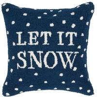 """18"""" Navy Blue and Snow White """"LET IT SNOW"""" Christmas Holiday Throw Pillow Cover"""