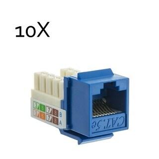 10 Pack Lot Cat5e Keystone Jack Blue Toolless Network Ethernet Port BattleBorn