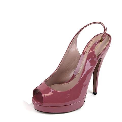 Gucci Women's Dark Pink Patent Leather Back Sling Platforms 310083 6224