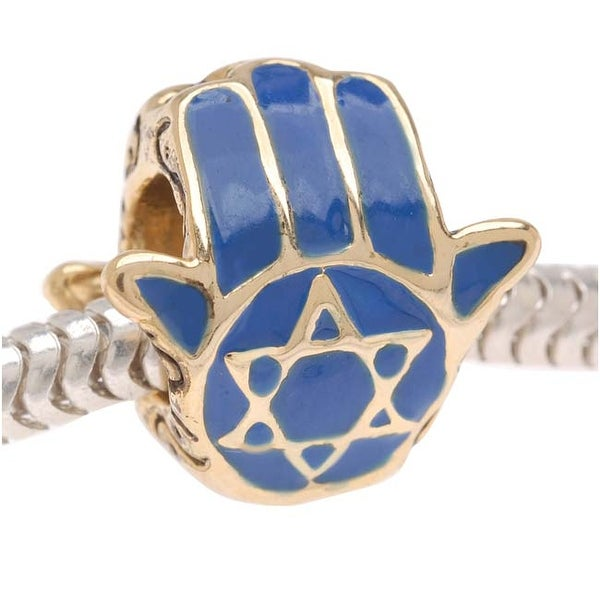 22K Gold Plated With Blue Enamel Jewish Star Of David Hamsa Hand European Style Large Hole Bead (1)