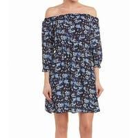 CeCe Navy Blue Womens Size 6 Off Shoulder Floral Sheath Dress