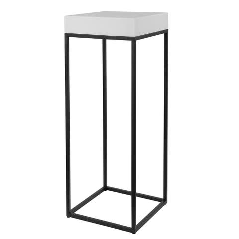 """Uttermost 24935 Gambia 14"""" Wide Steel Side Table - White / Black"""