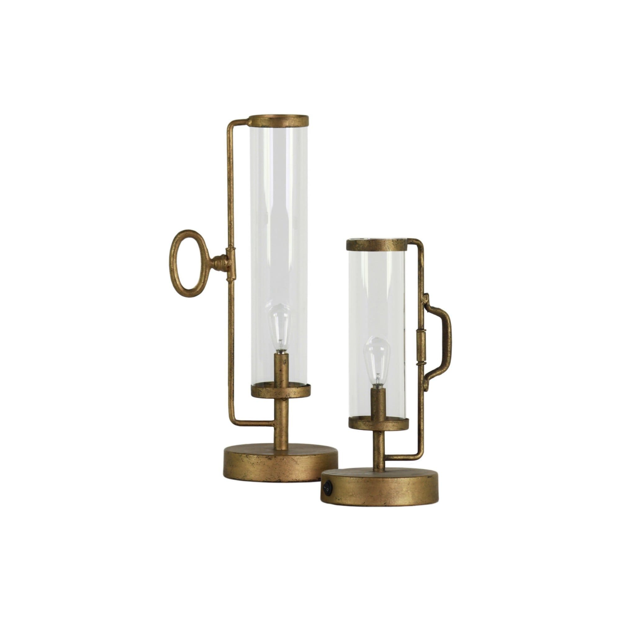 Metal Round Lantern With Glass Cylinder Hurricane Set Of 2 Antique Gold On Sale Overstock 31570633