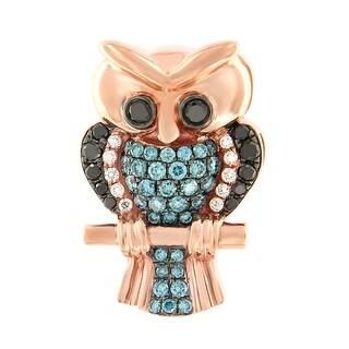 Prism Jewel 0.68Ct Ice-Blue Color Diamond & Diamond Owl Pendant - Black/Blue/White G-H