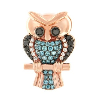 Prism Jewel 0.68Ct Ice-Blue Color Diamond & Diamond Owl Pendant - Black/Blue/White G-H
