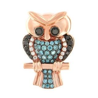 Prism Jewel 0.68Ct Ice-Blue Color Diamond & Diamond Owl Pendant - Black/Blue/White G-H (3 options available)