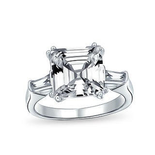 Link to 5CT Asscher Cut CZ Baguette Solitaire Engagement Ring Sterling Silver Similar Items in Rings