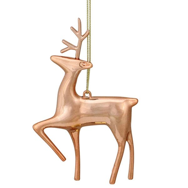 4 75 Shiny Rose Gold Metal Reindeer Christmas Tree Ornament N A