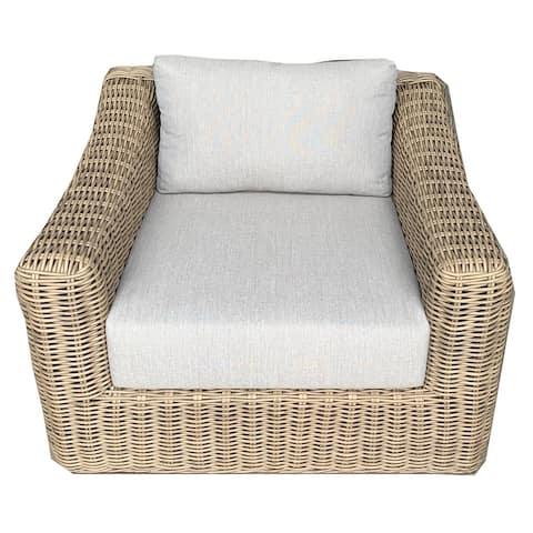 Tullum Outdoor Patio Furniture Arm Chair Rattan Wicker Frame Includes Light Grey Olefin Cushions