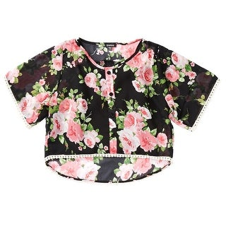Zunie NEW Black Girl's Size Large L Floral High-Low Chiffon Blouse