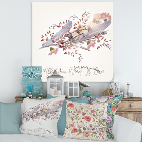 Designart 'Pink Feathers and Bird All You Need Is Love' Bohemian & Eclectic Canvas Wall Art Print