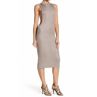 Wow Couture NEW Platinum Gold Womens Size Small S Mock Neck Sheath Dress