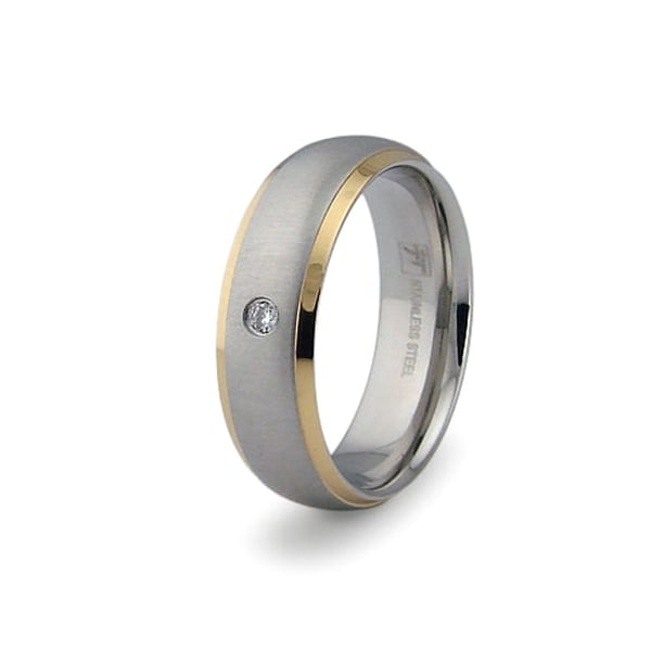 Gold Plated Stainless Steel Ring with CZ (Sizes 9-12)