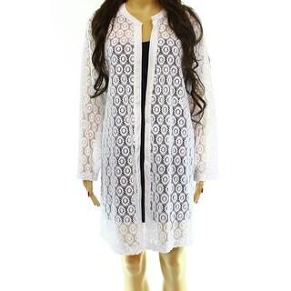 Alfani NEW White Crochet-Lace Women's Size Large L Cardigan Sweater