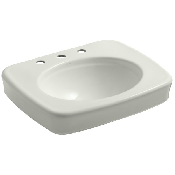 """Kohler K-2340-8 Bancroft 24"""" Pedestal Bathroom Sink with 3 Holes Drilled and Overflow"""