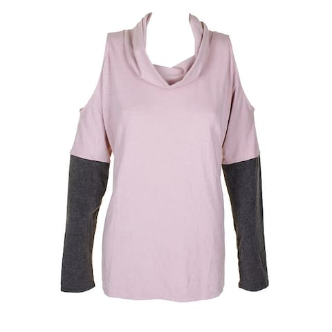 Dkny Pink Heather Grey Color Blocked Brushed Jersey Cold Shoulder Sweater XL