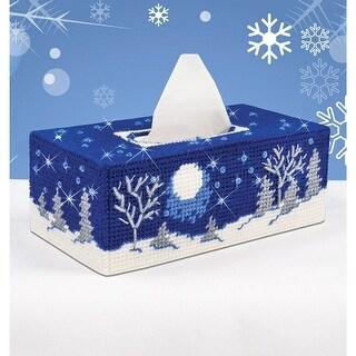 "Starry Night Tissue Box Plastic Canvas Kit-4.5""X9""X3.5"" 7 Co"