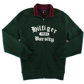 Tommy Hilfiger NEW Green Mens Size Large L Embroidered Full Zip Sweater