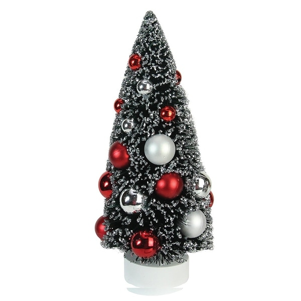"9"" Frosted Red and Silver Sisal Pine Artificial Christmas Table Top Tree"