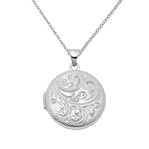 Sterling Silver Rhodium-plated 20mm Scroll Round Locket with 18-inch Cable Chain by Versil