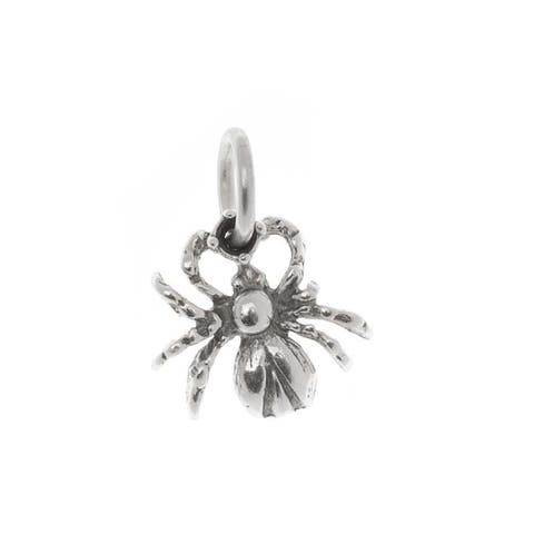 Sterling Silver Charm, Creep Crawly Spider 12mm, 1 Piece, Antiqued Silver