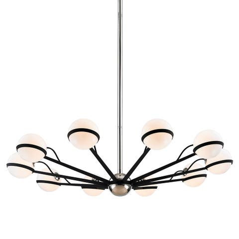 Troy Lighting Ace 10-light Carbide Black with Polished Nickel Accents Chandelier