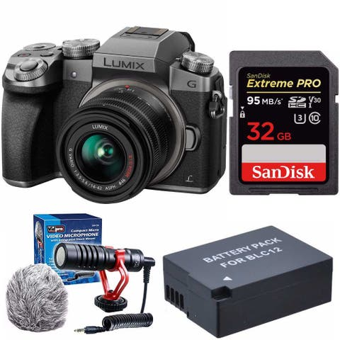 Panasonic LUMIX G7 Mirrorless Camera (Silver) with Lens and Mic Bundle