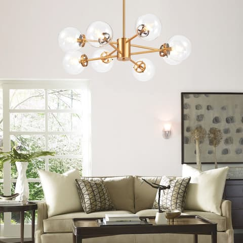 CO-Z 8-Light Modern Brass Linear Sputnik Chandelier