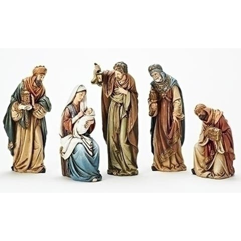 """5-Piece Traditional Religious Smiling Kings Nativity Set, 14"""""""