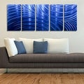 Statements2000 Blue Abstract Modern Metal Wall Art Panels by Jon Allen - Blue Synchronicity - Thumbnail 3
