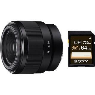 Sony FE 50mm F1.8 Lens & Sony 64 GB SD Card - Black
