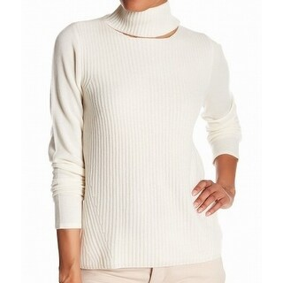 Elie Tahari NEW White Ivory Cutout Large L Tunic Cashmere Knit Sweater