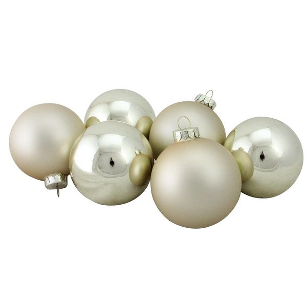 "6-Piece Shiny and Matte Champagne Gold Glass Ball Christmas Ornament Set 3.25"" (80mm)"