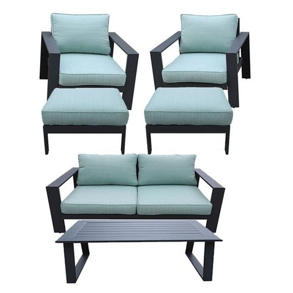 Seaside 6-Piece Outdoor Patio Seating Set by Avery Oaks Furniture - 2x Club Chairs, Loveseat, 2x Ottomans & Coffee Table. Opens flyout.