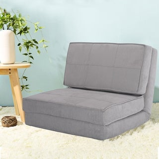 Costway Fold Down Chair Flip Out Lounger Convertible Sleeper Bed Couch Game  Dorm Guest (Gray
