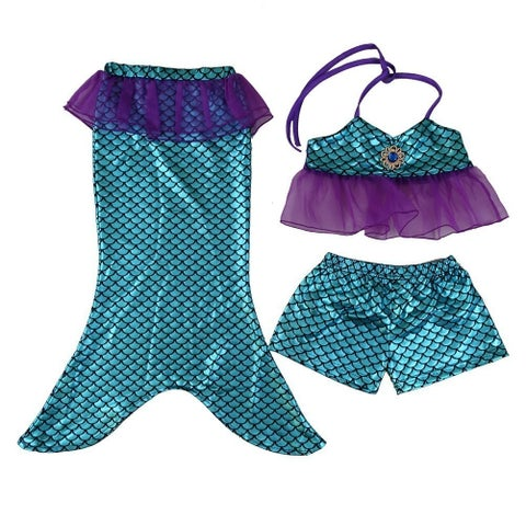 Wenchoice Little Girls Blue Mermaid Tail Top Shorts 3 Pc Swim Set