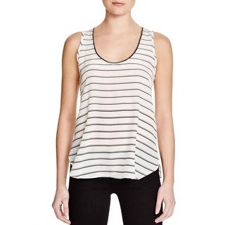 Aqua Womens Casual Top Embellished Striped