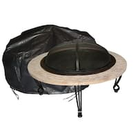 Fire Sense 2126 Large Outdoor Round Fire Pit Vinyl Cover - Black Vinyl - N/A
