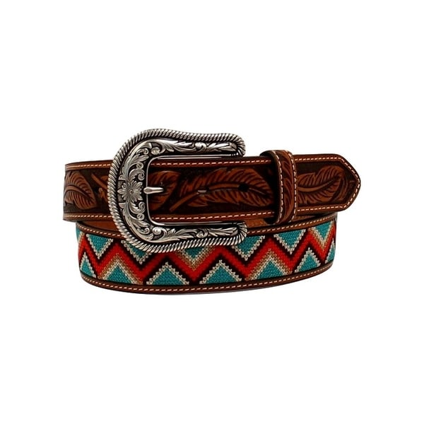 Ariat Western Belt Women Chevron Flower Leather Stitching Tan