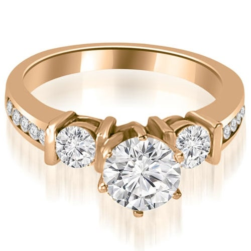 1.60 cttw. 14K Rose Gold Bar Set Round Cut Diamond Engagement Ring